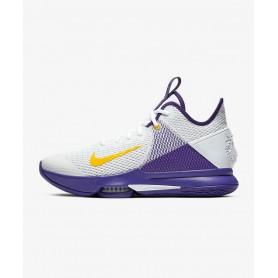 N4581 Basketball Shoe Nike LeBron Witness IV EP-white /voltage purple/white gold /metal gold