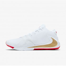 N4599 รองเท้าบาสเก็ตบอล Nike Zoom Freak 1-White/University Red/Metallic Gold